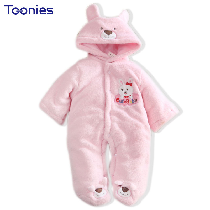 Autumn Winter Newborn Hooded Rompers Baby Thick Warm Jumpsuit Cartoon Style Children Boys Girls Coral Fleece Clothing 2017 New autumn winter baby clothes cartoon cotton thick warm infant jumpsuit clothing baby boys girls rompers overalls good quality