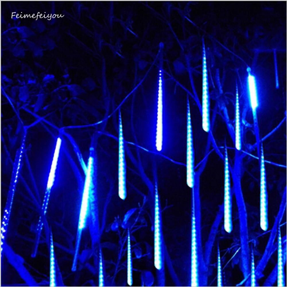 Resistente al agua 50 cm 8 tubo de lluvia de meteoros LED cadena de luces de interior al aire libre de los jardines de Navidad decoración de la fiesta árbol