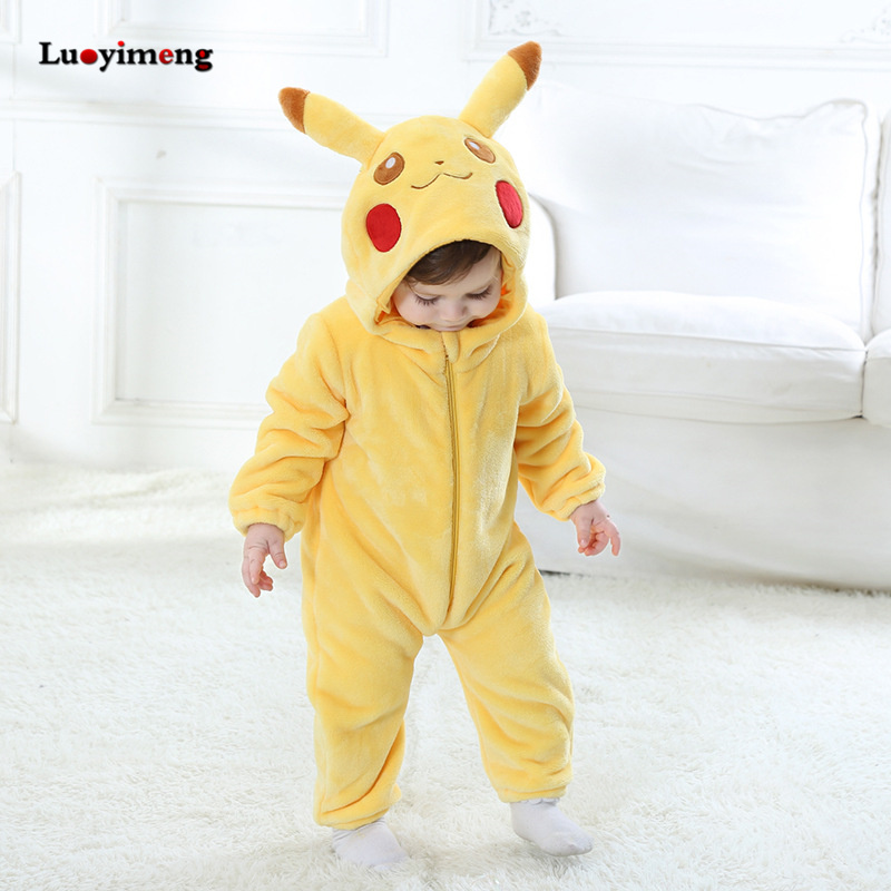 Image 2 - Baby Rompers Baby Girl Clothes Pikachu Kigurumi Kids Onesie Anime Cosplay Costume New Born Boy Pajama Flannel Warm Soft Jumpsuit-in Rompers from Mother & Kids