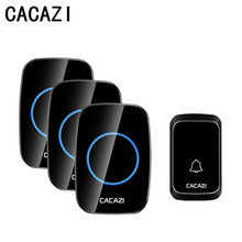 CACAZI บ้านไร้สาย Doorbell ไฟ LED แบตเตอรี่ปุ่มไร้สายโทร Bell 300 เมตรระยะไกล 4 ปริมาณ 58 chime