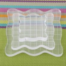 Clear Block Pad Acrylic Stamping Blocks Transparent Grid Block Set for Scrapbooking Color Stamping Process Essential Tools