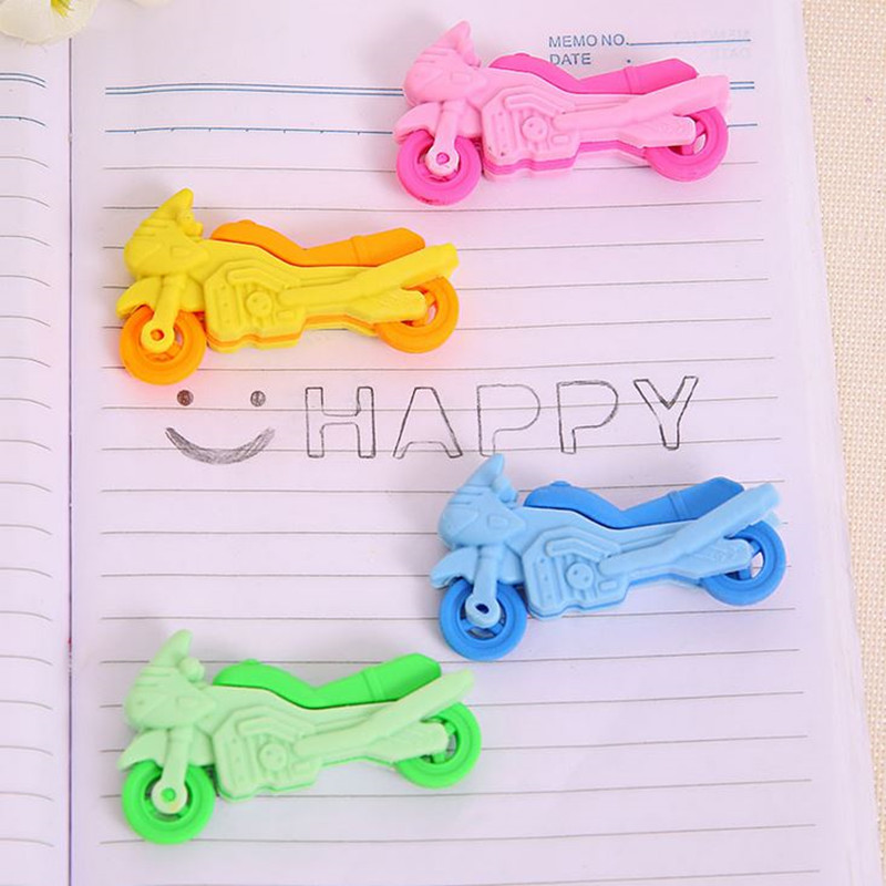 Coloffice 2PSC/Lot Cartoon Kawaii Motorcycle Eraser Small Portable New Creative Rubber Students Gift School Office Supplies