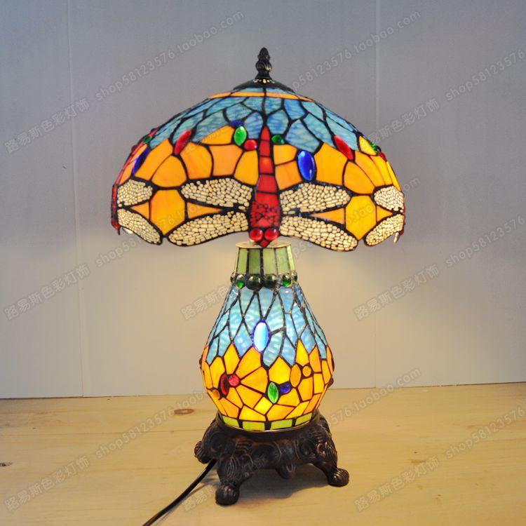 High end European style 12 inch Dragonfly cluster lamp Tiffany vintage art lighting bar bedroom bedside glass lamp|glass bedside lamp|bedroom bedside lamp|bedside lamp - title=