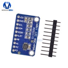 16 Bit ADS1115 ADC 4 Channel 4CH Pro Gain Amplifier Development Module Board For Arduino RPi Ultra Compact IIC I2C Interface(China)