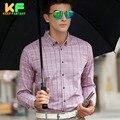 High Quality Men Shirt Long Sleeve Plaid Linen Dress Man's Business Clothing Turn-Down Collar Social Brand Shirts MDSS1515
