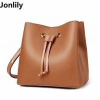 Popular Fashion Brand Design Women Genuine Leather Bucket Messenger Bag High Quality Real Cowskin String Shoulder