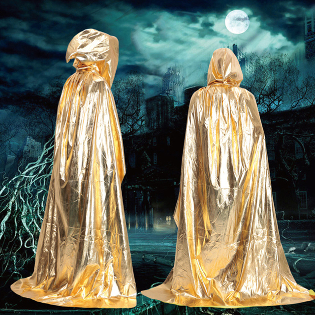 Party & Holiday DIY Decorations Halloween Costume Wizard Cape Mopping Adult Grim Reaper Black Red Silver Golden Cloak 3