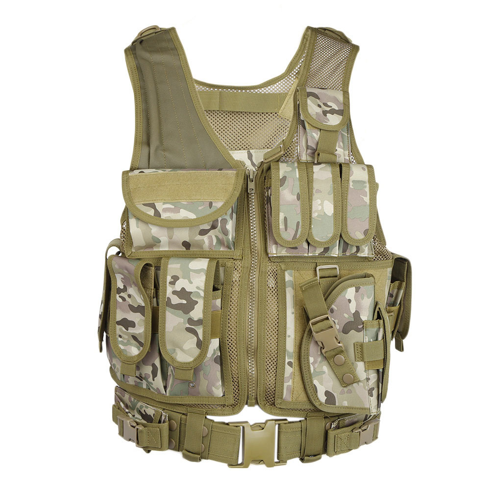 Outdoor Tactical Vest Men Military Tactical Vest Hunting Camouflage Vest Body Armor Molle Equipment Jungle Shoulder Straps Vests (4)