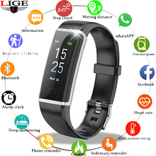 LIGE Fitness Bracelet Smart Wristband Blood Pressure Heart Rate Monitor Pedometer Sport Watch Men For Andrdid ios