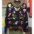 EXCELENTE CALIDAD 2017 de Diseño de Invierno Suéter de Las Mujeres De Lujo Impresionante Flores de Mariposa Del Bordado Pullover Sweater
