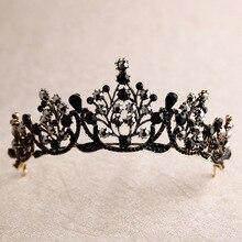 цена на baroque special black crystal crown bride headdress wedding crown birthday bride hair accessories