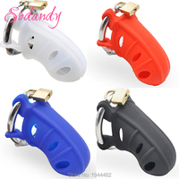 SODANDY 2017 Male Chastity Silicone Penis Sleeve Chastity Device Penis Cover Locking Cock Cage With Adjustable Cock Ring For Men