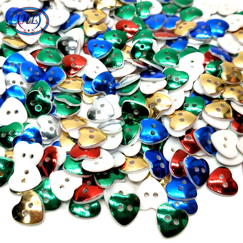 HL 30/50/100pcs 13MM Plating Plastic Heart Buttons Mix Colors Apparel Sewing Accessories DIY Scrapbooking Crafts