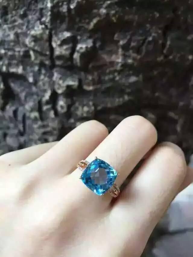 Natürliche blaue topas stein Natürlichen edelstein ring S925 sterling silber trendy Eleganten platz frauen party geschenk edlen Schmuck-in Ringe aus Schmuck und Accessoires bei  Gruppe 1