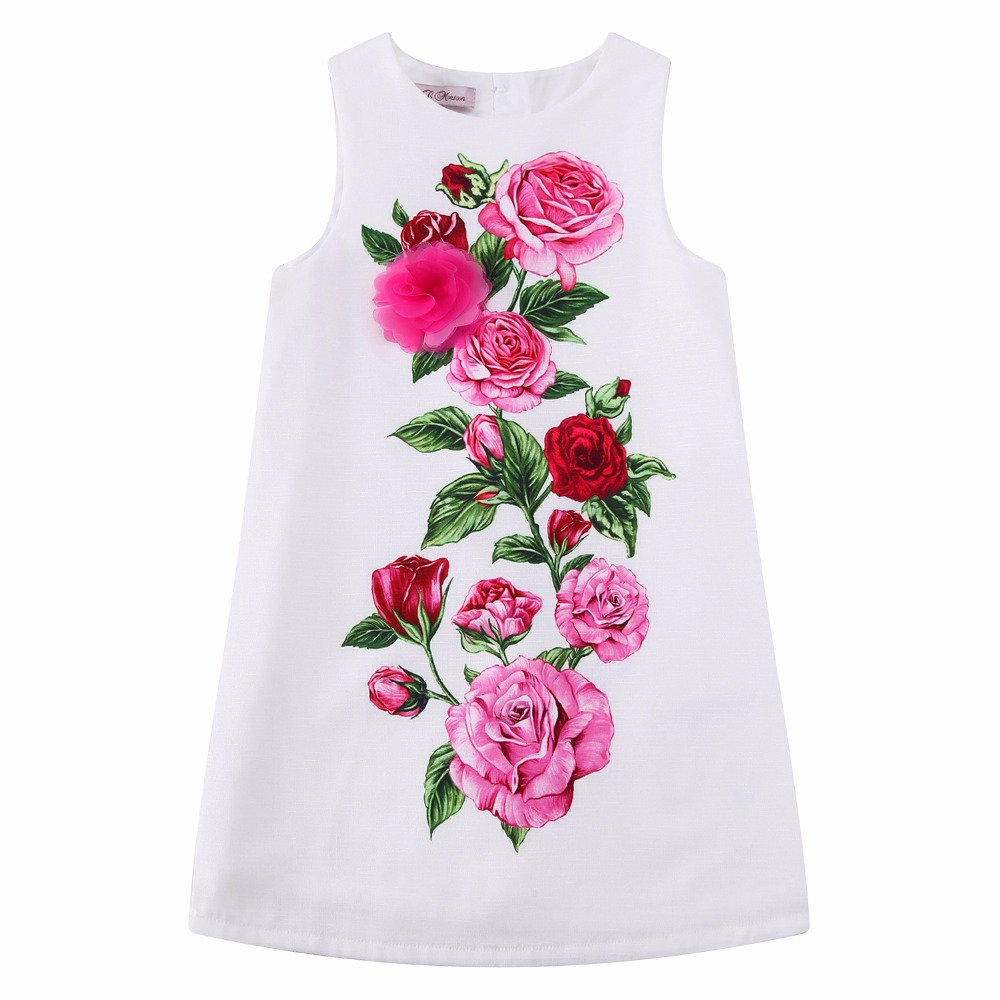 Kids Dresses for Girls Clothes Rose Flower Princess Dress 2017 Brand Girls Summer Dress Children Clothing Vestido Princesa 2 girls dresses summer 2016 performance clothing girls princess dress children dress flower wedding dress girls clothes