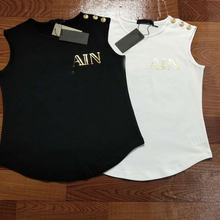 ce93f053bedf05 2018 Cotton Summer Top Tees Sleeveless Shoulder Metal Buttons Stamping  Letters
