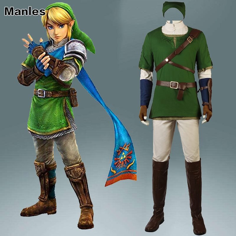 The Legend of Zelda Twilight Princess Costume Link Zelda Man Cosplay Shirt Halloween Adult Outfit Men Clothes Custom Made Boots