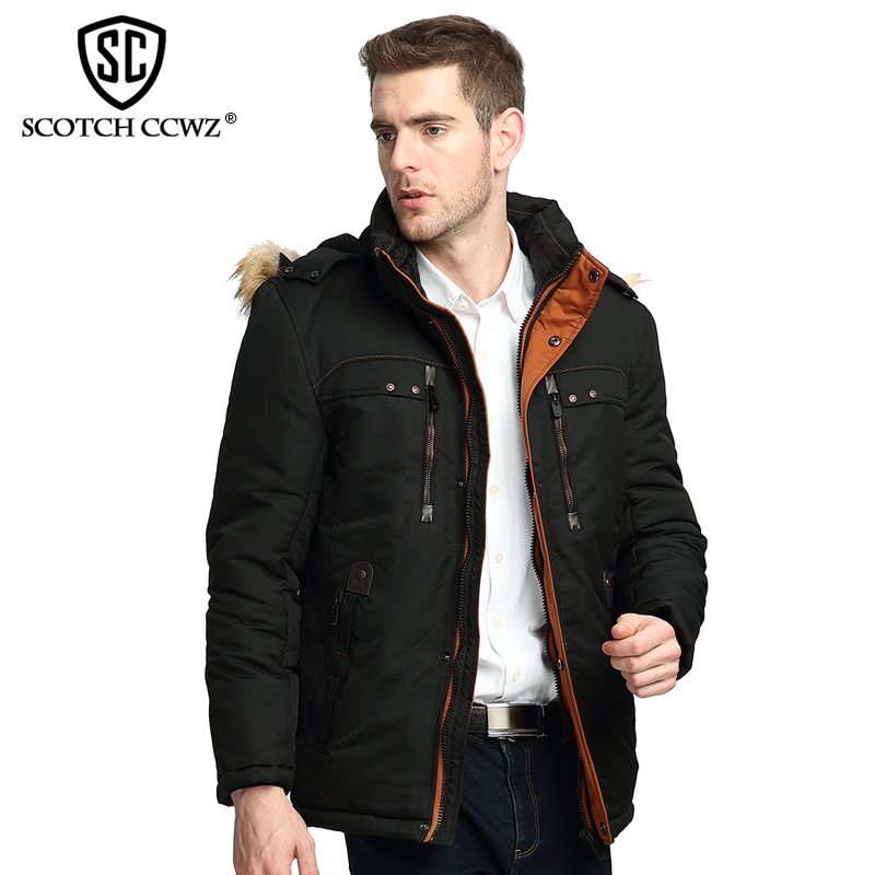 SCOTCH CCWZ Brand Casual Thick Warm Winter Jacket Men Parkas 2017 Windproof Jackets And Coats For Men Clothing High Quality 7755 new arrival winter jacket men fashion brand clothing casual jackets and coats for male warm thick cotton pad men s parkas m 4xl