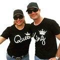 Мода пара футболка Король и Королева Корона отпечатано шею толстовки женщины и мужчины топы черный белый пуловеры R293