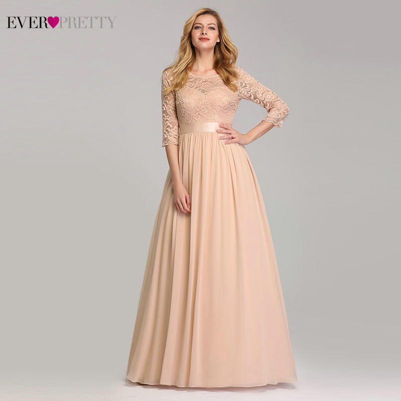 Elegant Lace Bridesmaid Dresses Ever Pretty EP07412 A-Line O-Neck 3/4 Sleeve Sexy Wedding Guest Dresses Vestido De Festa Longo