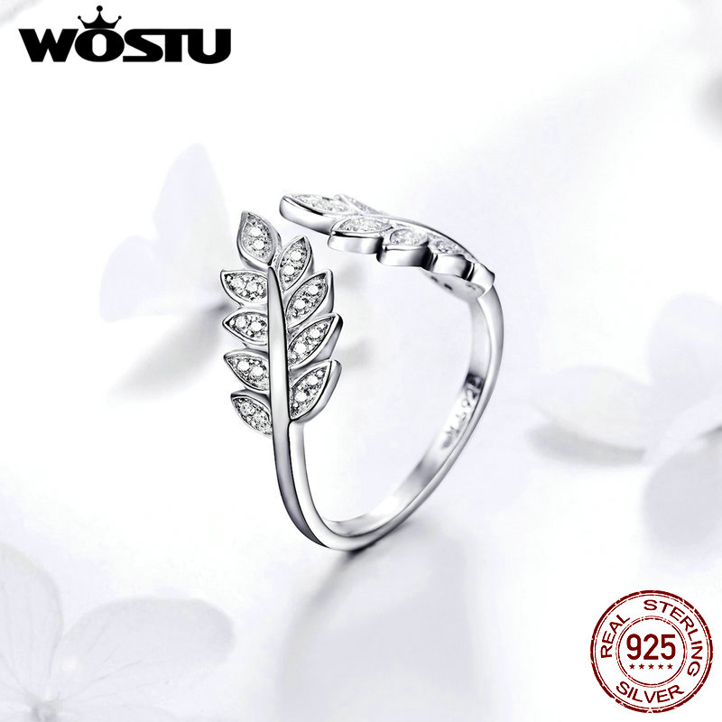 WOSTU Leaves Flower Rings 925 Sterling Silver Sparkling Zircon Ring Adjustable Size For Women Classic Silver 925 Jewelry FIR505