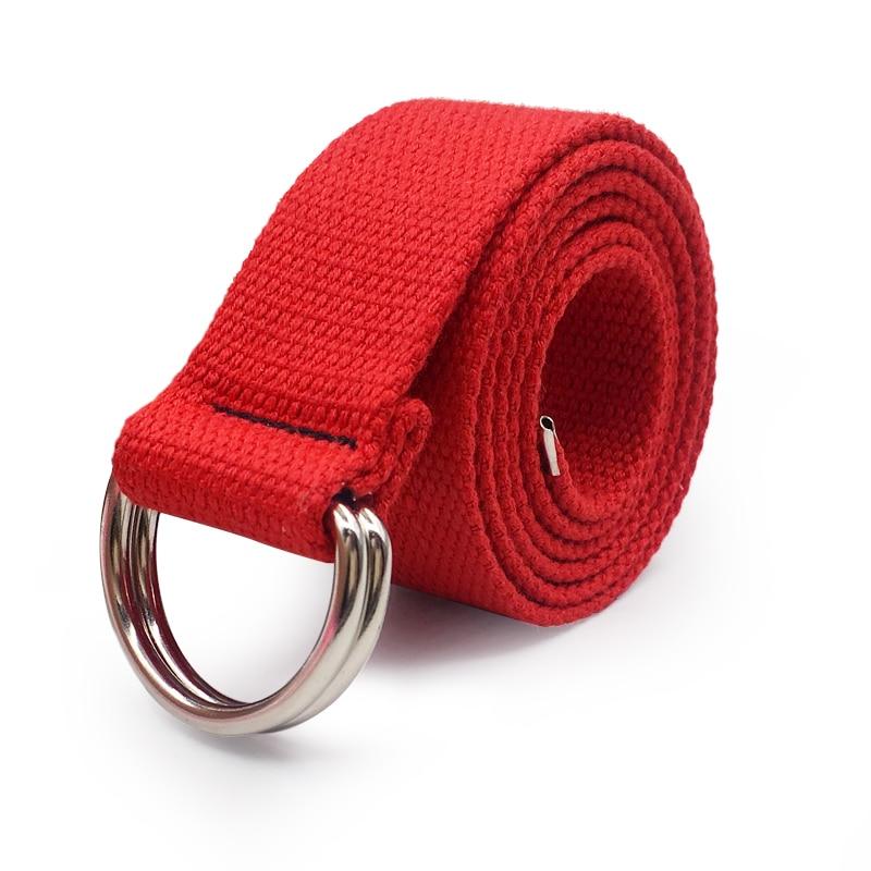 Ремень с d-образным кольцом и пряжкой Harajuku, на молнии, подходит ко всему, ультра длинный холщовый пояс для влюбленных, короткий однотонный длинный ремень длиной 110 см - Цвет: Red
