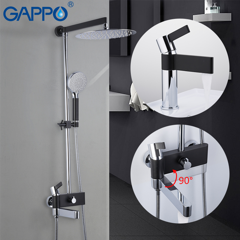 GAPPO Shower system brass water tap chrome and black bath faucet mixer shower set with basin