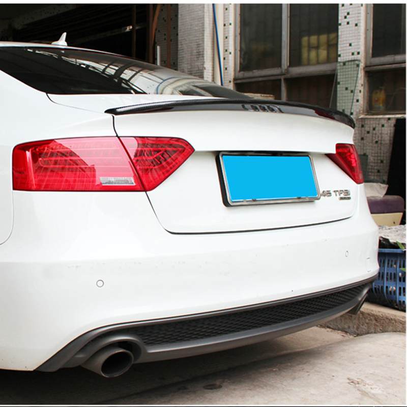 For Audi A5 S5 Spoiler 4Door Sedan 2009-2016 S5 Style Tail Wing Decoration Black Carbon Fiber Car Rear Trunk Spoiler