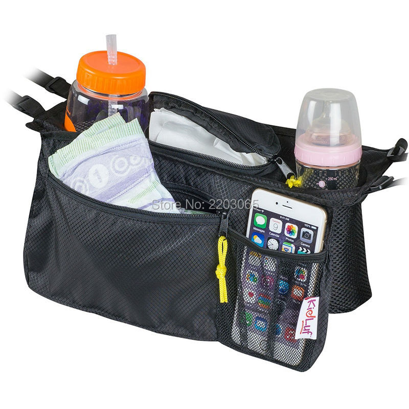 universal stroller organizer bag by kidluf accessories storage bag for strollers with front pocket for cell phone black