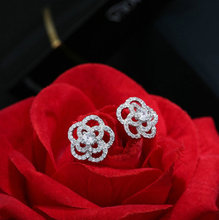 Bilincolor fashion trendy small 925 sterling silver hollow rose flower stud earring for women