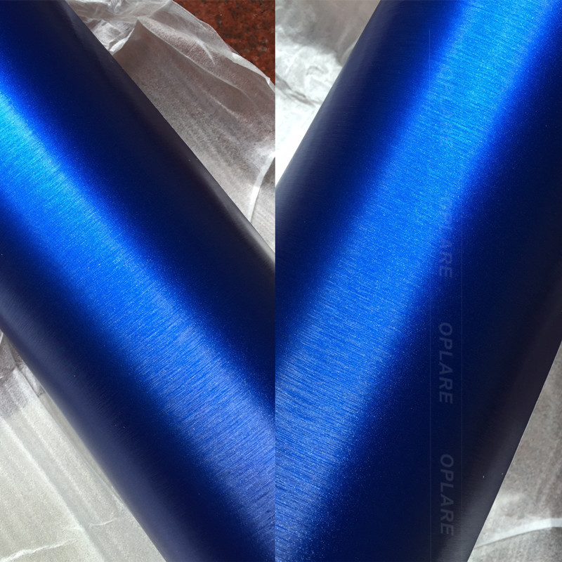 Real shooting 1.52m*20m PVC Waterproof blue Chrome Vinyl Wrap Car Wire Drawing Brushed Ice Film Automobiles Motorcycle Stickers