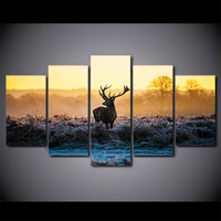 5 Piece HD Printed African Sunset Deer Framed Wall Picture Art Poster Painting On Canvas For Living Room Nordic Decoration Home