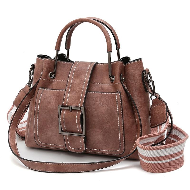 Bags For Women Pu Leather Bag Female Belts Crossbody Bags For Women Vintage Bucket Shoulder Bag