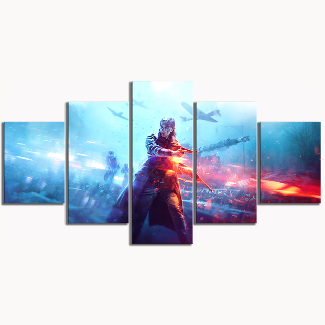 5 Piece HD Military Poster Battlefield 5 Video Game Canvas Art Wall Pictures for Living Room Decor 1
