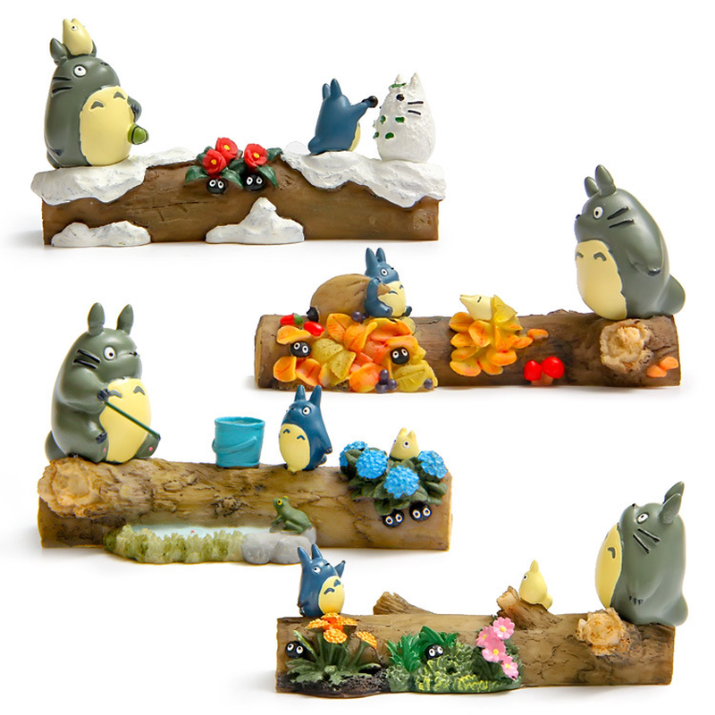 Japan Style Resin Totoro Model Figurines Miniatures Spring Summer Autumn Winter Seasonal Scene Desk Christmas Decoration Crafts