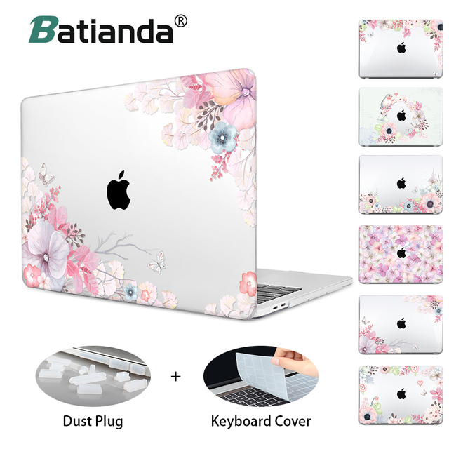 Floral Printing Hard Laptop Case For Macbook Pro Retina 11 12 13 15 Air Pro 15 13 2018 A1932 A1708 A1989 Touch bar Crystal Cover