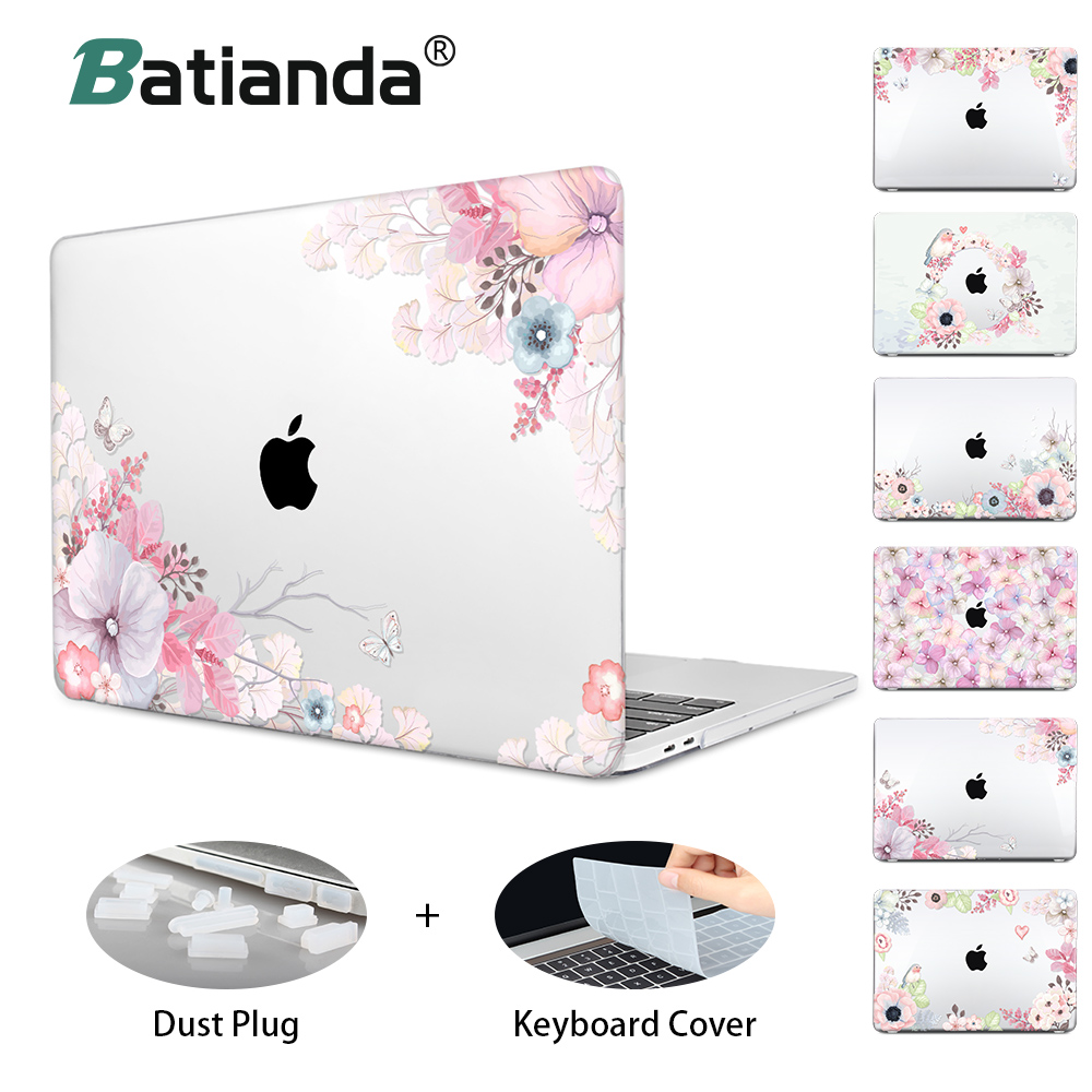 Floral Printing Hard Laptop Case For Macbook Pro Retina Pro 1315 Air 12 13 11 New Pro 13 15 A1708 A1989 Touch bar Crystal Cover цена и фото