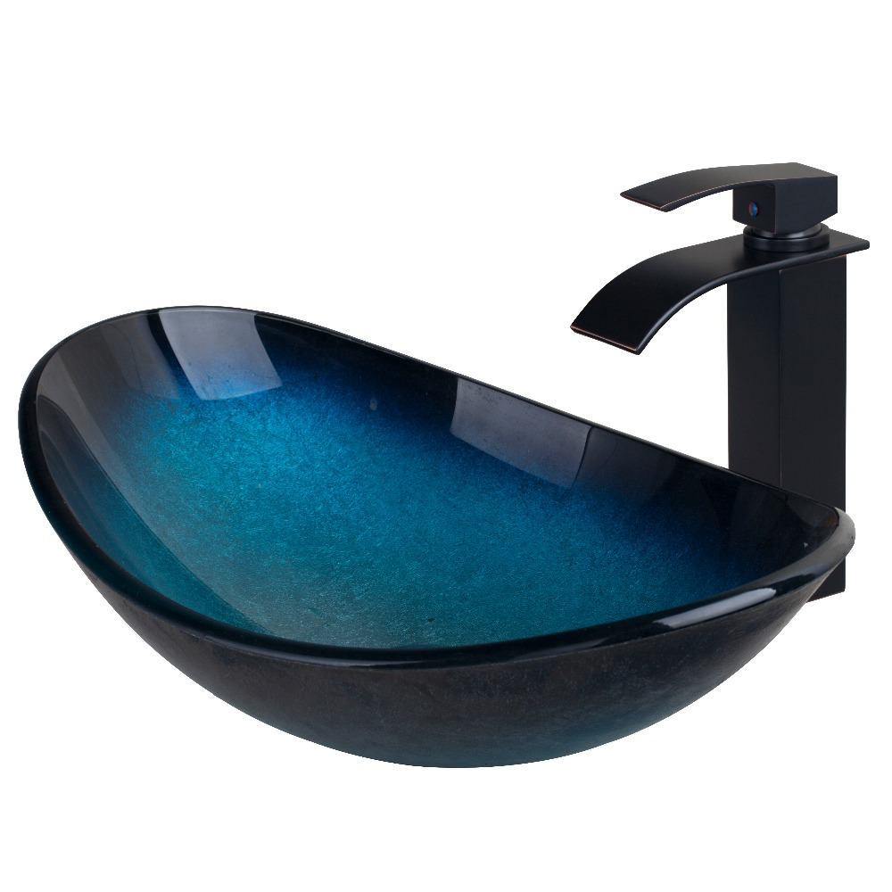 Modern Waterfall Tempered Glass Bathroom Vessel Basin Sink With Faucet Bowl  Faucet Mixer Set(China