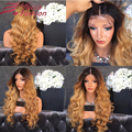 180% density Full Lace Ombre Human Hair Wigs With Bleached Knots Two Tone Color Ombre Glueless Lace Front Wig Human Hair Wigs