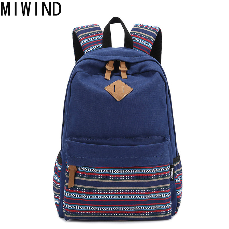 MIWIND femmes sacs à dos pour adolescents filles toile sac à dos femme rayé féminin sac à dos école sac à dos fille Mochila TFS0100