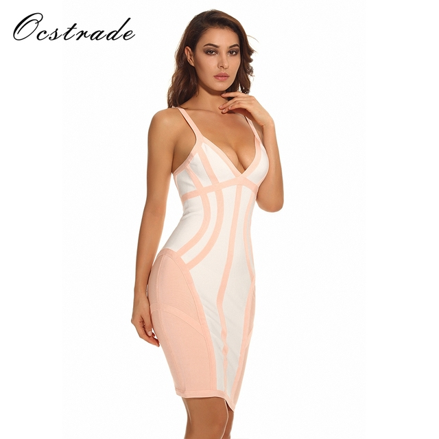 New Arrival Hot Fashion Summer Collections 2017 Womens White and Nude  Strappy Illusion Cut Sexy V Neck Bodycon Bandage Dresses 0d011f00f228