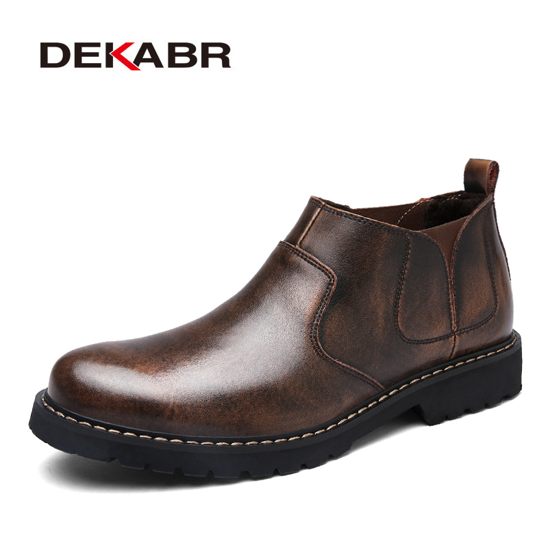 DEKABR Fashion Split Leather Boots For Men Winter Autumn Warm Boots Slip-On Comfortable Lazy Boots Waterproof Classic Men Shoes ...
