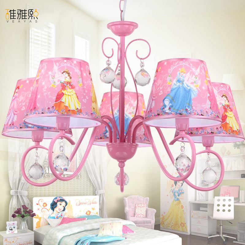 Lumière de noël creative fille rose éclairage enfants lampes et éclairage de fer enfants lampe fille Cristal lustre éclairage
