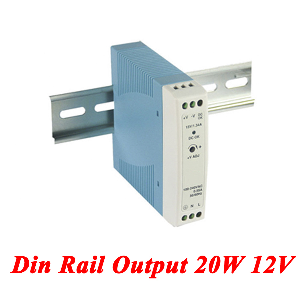 MDR-20 Din Rail Power Supply 20W 12V 1.67A,Switching Power Supply AC 110v/220v Transformer To DC 12v,ac dc converter new universal regulated switching power converter supply ac to dc 12v 16 5a 201w rohs ce certificate