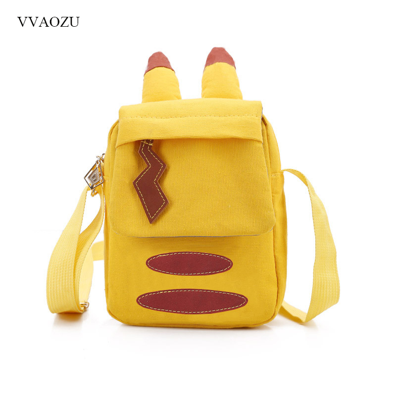 Cartoon Pocket Monster Pokemon Pikachu Messenger Crossbody Bags Women Mini Handbags Shoulder Bag for Girls with Cute Ears Tail japan pokemon harajuku cartoon backpack pocket monsters pikachu 3d yellow cosplay schoolbags mochila school book bag with ears