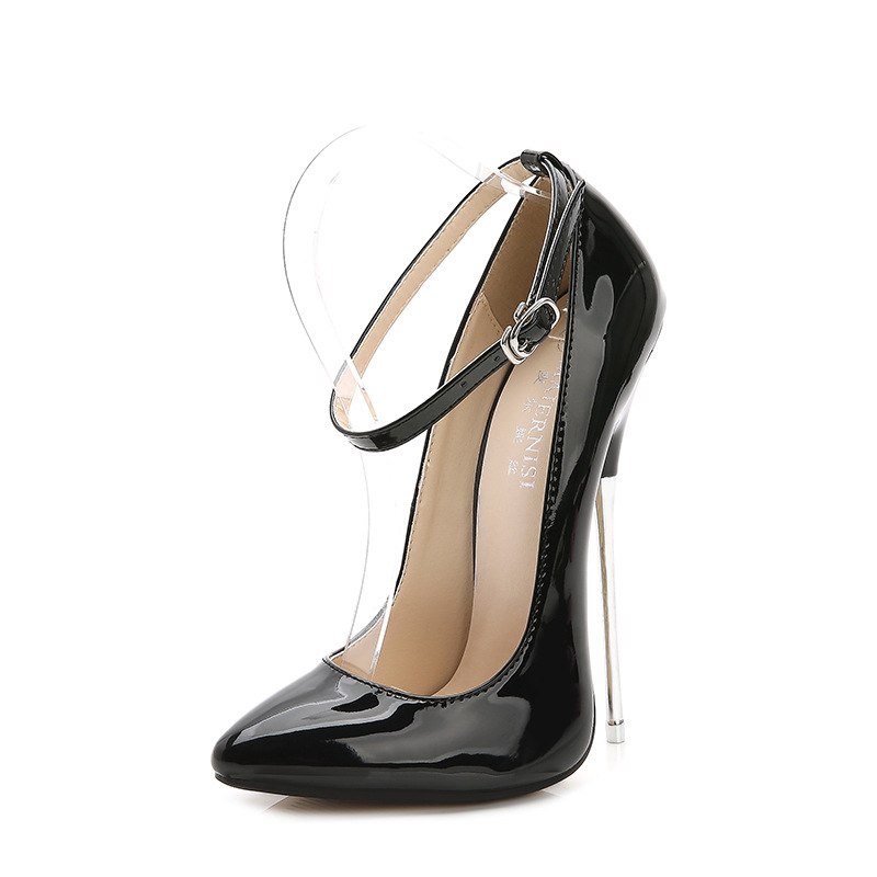 Women High Heels 16cm Pumps Plus Size Dress Wedding Shoes Red Black Pointed Toe Heels Women Party Shoes Strappy Heels Pumps dorisfanny plus size 33 45 hot sale women pumps round toe shoes black white red nude pump high heels wedding shoes
