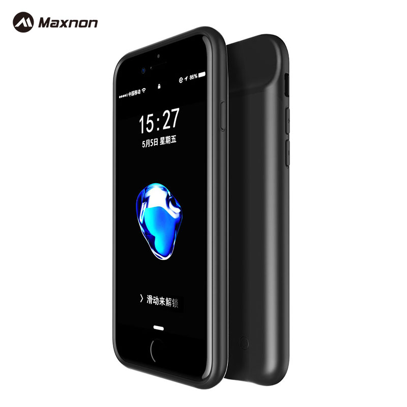 MAXNON HOT SALE Black Color Wireless <font><b>3000mAh</b></font> Back Clip Battery Charger Case Power Bank For iPhone 7 Mobile <font><b>Phone</b></font> power Case