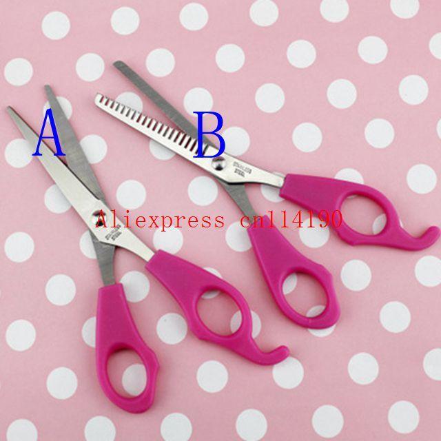 Newarrive Girl Pink Plastic Level Instrument Ruler DIY Hair Tools Bang Cut Kit Scissor+Hair Clip Set Hairstyle Typing Trim Tool