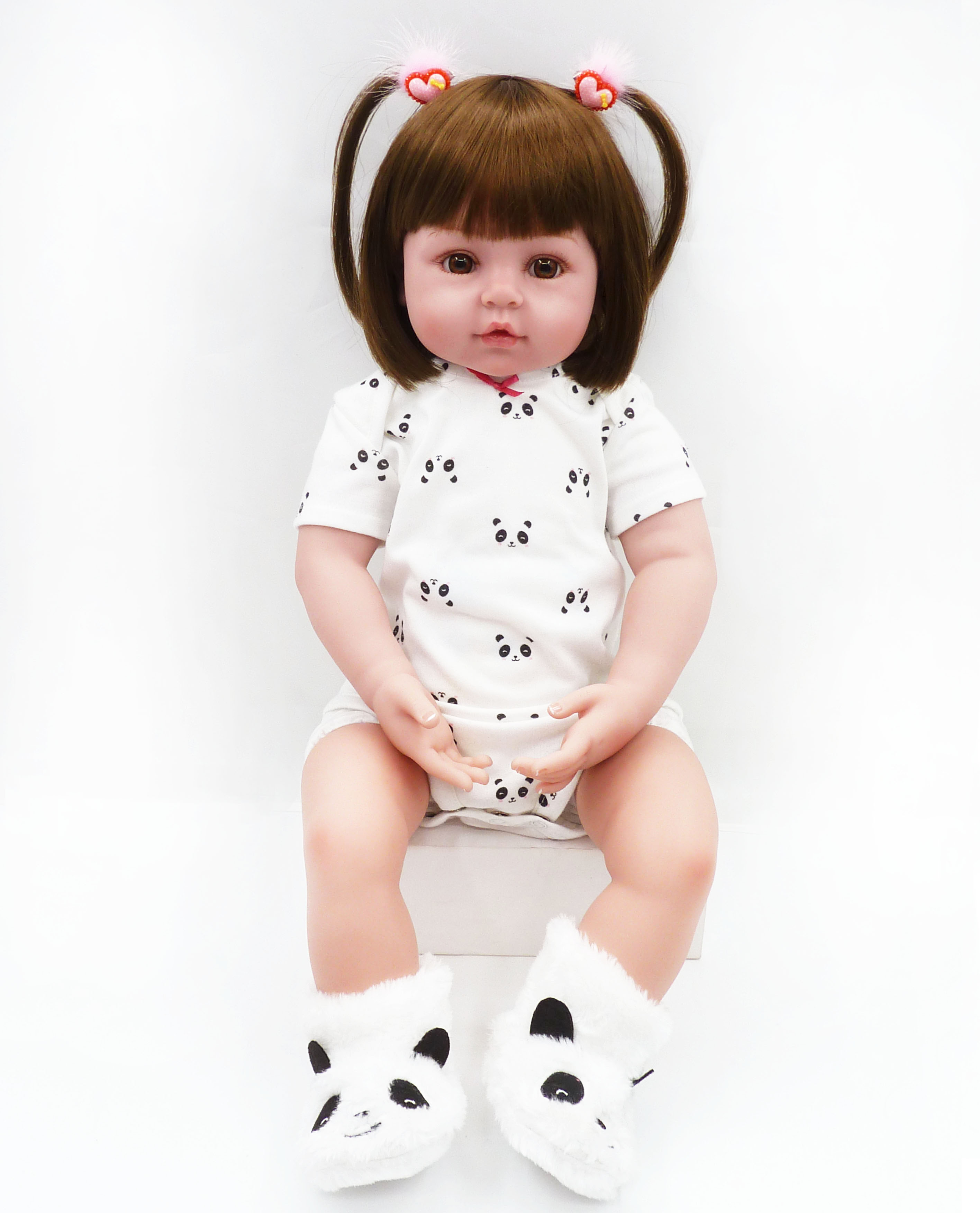 61cm <font><b>24inch</b></font> Soft Cotton Body Silicone Doll Reborn Lifelike Baby Girl Doll Reborn Baby Real Doll Kids Birthday Christmas Gifts image