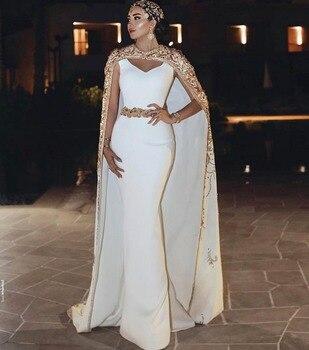 Vestido de festa Charming White Mermaid Evening Dress With Jacekt Jewel Neck Floor Length Evening Dresses Long Formal Gowns